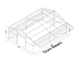 Durobeam Steel 30x40x12 Metal Building With 8 Self Supporting Canopy Direct