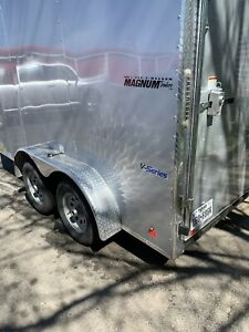 7x12 V nose Enclosed Cargo Utility Trailer radial Tires Led Lights 5yr Warranty