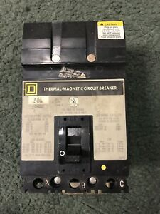 Used Square D Fh36050 3pole 50amp 3p 600 volt Thermal Magnetic Circuit Breaker