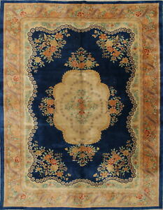 One Of A Kind Wool 9x11 Floral Oriental Handmade Chinese Art Deco Area Rug Old