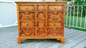 Vintage Hickory Chair Oak 4 Drawer Accent Chest Commode Dresser