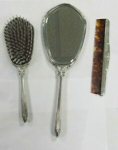 Webster Vintage Sterling Silver Vanity Set Brush Mirror Comb Fast Ship