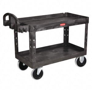 Rubbermaid Polypropylene Raised Handle Utility Cart Fg454600bla