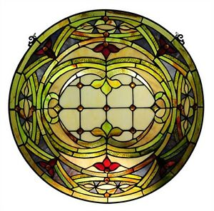 Pair Hand Crafted Stained Glass 24 Round Window Panel Cut Glass Tiffany Style