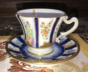 Antique French Sevres Porcelain Cup Saucer Set Hand Painted