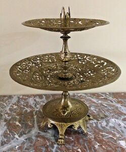 Antique French Ornate Relief Bronze Figural Candlestick Centerpiece Bowl 1890