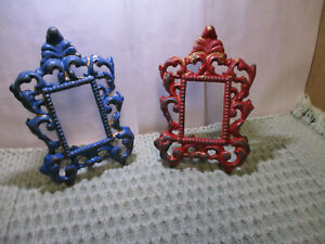 2 Vintage Cast Iron Metal Ornate Photo Frame Iron Art Victorian