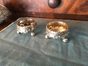 Tiffany Co Antique Sterling Silver Ornate Footed Open Salts Matching Pair 1873
