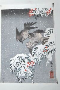 Vintage Japanese Woodblock Print Sparrows In The Snow Unframed