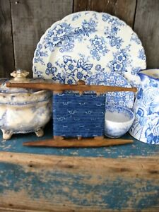 Early Antique Handmade Thread Winder W 1890s Blue Calico Free Shipping