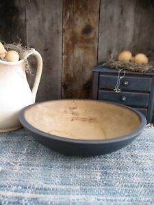 Early Antique Dough Bowl W Rim Navy Blue Milk Paint Free Shipping