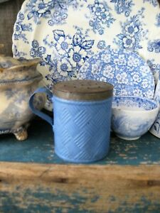 Early Antique Embossed Basketweave Tin Sugar Shaker Muffineer Blue Milk Paint