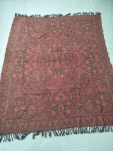 Antique French Paisley Kashmir Square Piano Shawl Wool Size 69 X56good Condition