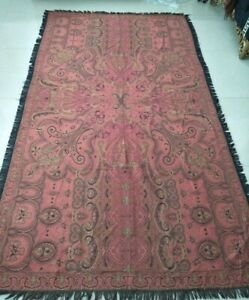 Antique French Paisley Kashmir Big Piano Shawl Wool Size 98 X57 Excellent Condit