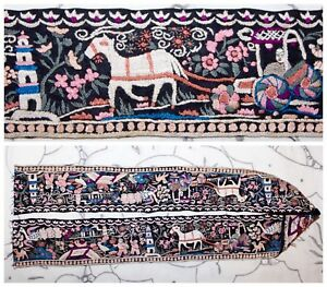 C 19th Qing Dynasty Chinese Embroidered Silk Robe Sleeve Band Scenic Textile 37