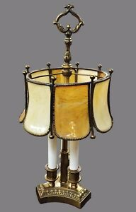 Antique French Bouillotte Lamp Tiffany Style Stained Slag Glass Art
