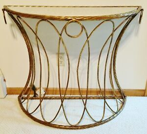 Hollywood Regency Italian Gold Leaf Console Table Demilune Antique Mirror Glass