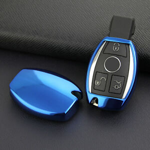 Bright Blue Car Key Protector Cover Holder Shell Accessories For Mercedes Benz
