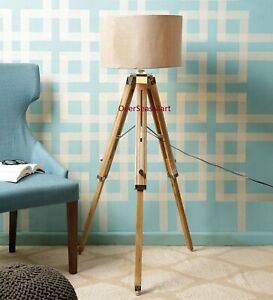Vintage Style Wooden Tripod Stand Floor Lamp Home Decor Use With Shade Best Item
