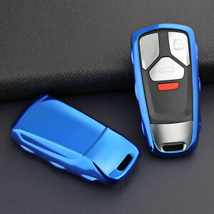 Bright Blue Car Remote Smart Key Cover Holder Protector For Audi A4 A5 Q5 Q7 S4