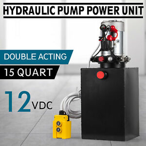 15 L 12v Dc Double Acting Hydraulic Pump Dump Trailer Metal Reservoir 15 Quart