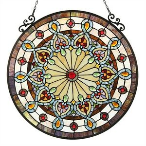 Window Panels Victorian Stained Glass Tiffany Style 23 5 Diameter Round Pair