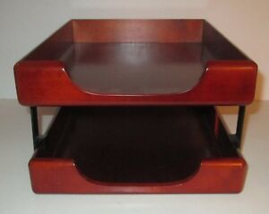 Wood Desk Double Tray Organizer Mail Paper In Out Box File Sanford Rolodex