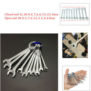 10pcs Professional Combination Wrench Set 4 11mm Metric Small Engineer Spanner