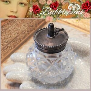 Antique England Fine Sterling Silver Pressed Glass Jar Small Travel Oil Lamp