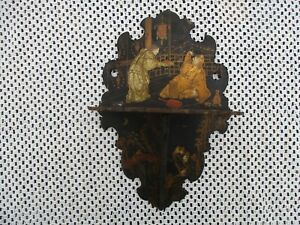 Nice Antique Petite Chinoiserie Japan Motif Black Lacquer Folding Wall Shelf