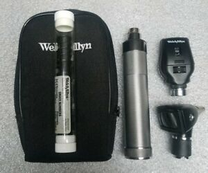 Welch Allyn Standard Otoscope Head With Working Halogen Bulb Battery Handle Case