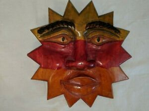 Gorgeous Vintage 8 1 2 Hand Carved Dyed Stained Wood Sun Face