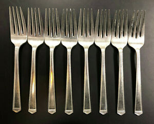 1847 Rogers Silverplate Salad Dessert Forks 1923 Anniversary 6 1 4 Lot Of 8