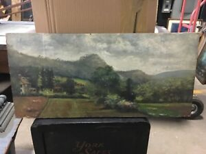 Primitive Naive Painting On Board Pretty Country Scene Signed N Mazzeo 1917 29