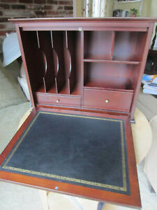 Bombay Company Wood Fold Open Desk Top Organizer Cherrywood Drawers