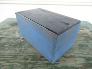 Vintage Candle Box Wood Blue Paint Primitive Vintage 8 X 5 X 4 Sliding Lid