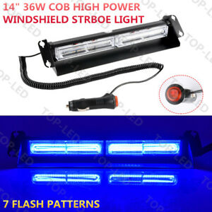 14 36w Cob Led Car Emergency Warning Windshield Visor Dash Strobe Light Blue