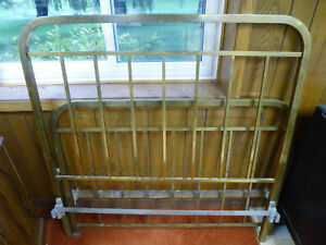 Vintage Full Size Antique Brass Bed With Headboard Footboard And Side Rails