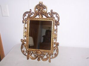 Antique Victorian 19th Century Cast Iron Aged Gold Gilt Table Mirror Gothic