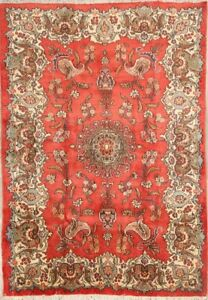 Sarouk Persian Semi Antique Wool Oriental Floral One Of A Kind Handmade Rug 4x6