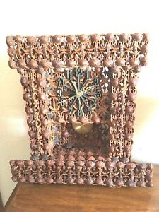 Handmade Folk Art Walnut Shell Pendulum Clock Battery Operated
