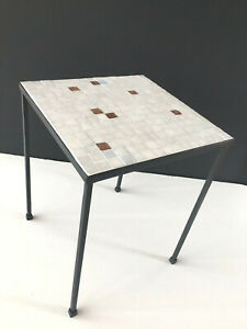 Mid Century Glass Tile And Painted Steel Drinks Table Ala Paul Mccobb