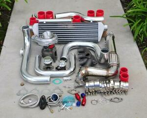 For Civic D15 D16 Bolt on Turbo Kit Polished Intercooler Pipe Rs Bov Red Coupler