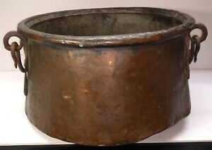 Antique Egyptian Bedouin Hand Forged Copper Cauldron Bean Pot Forged Iron Handle