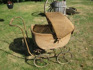 1920 S 30 S Haywood Wakefield Wicker Baby Carriage Stroller 47x36x20 Saratoga