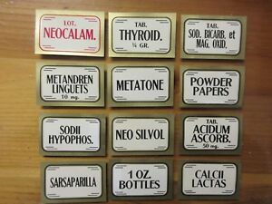12 Old Pharmacy Apothecary Medicine Bottle Labels Vintage Ephemera Lot Nice