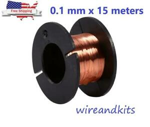 1 Roll Magnet Wire Awg Gauge Enameled Copper Coil Winding 0 1mm X15 Meter Length