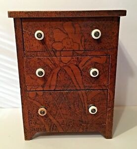 Rare Antique Flemish Art Pyroghraphy Small Chest Of Drawers 3 Drawers 13 1 2 T