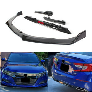 Carbon Fiber Plastic Front Rear Bumper Lips Spoiler For Honda Accord 2018 2019