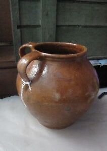 Primitive Redware Charming Ovoid Jug W Reddish Glaze And Dual Handles
